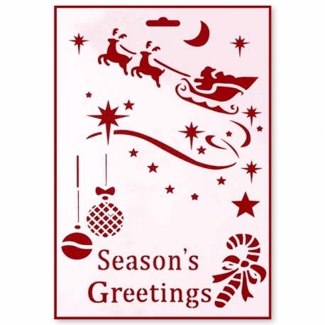 Large Plastic Stencil - Season's Greetings (1pc)