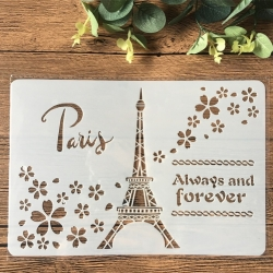 Large Plastic Stencil - Paris/Eiffel Tower (1pc)