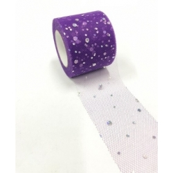 Tulle Ribbon Roll with Sequins - Purple (5cm x 22m)
