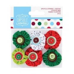 Festive Spots & Stripes Pleated mini fabric flowers (PMA 358012)