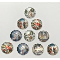 Glass Cabochons - Vintage Christmas (10pcs)