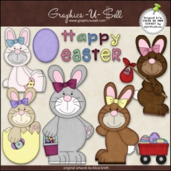 Download - Clip Art - Easter Bunnies