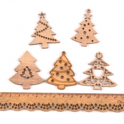 Wooden Christmas Trees Assorted (10pcs)