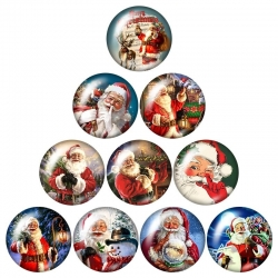 Glass Cabochons - Santa (10pcs)