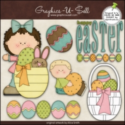 Download - Clip Art - Happy Easter Kids 1