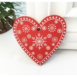 Wooden Folk Hearts, Red (10pcs)