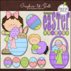 Download - Clip Art - Happy Easter Kids 2