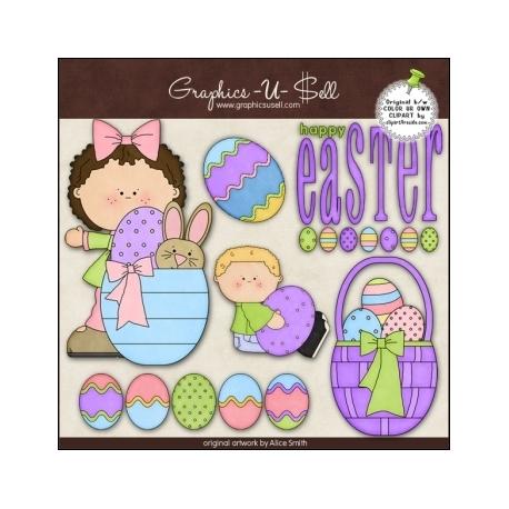 Download - Clip Art - Happy Easter Kids 2