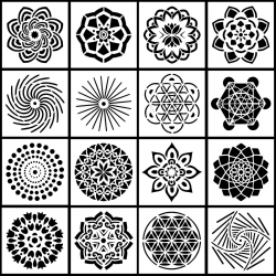13 x 13cm Reusable Stencil 16 pack - Mandala set (16pcs)