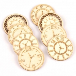 Wooden Clocks - Round (8pcs)