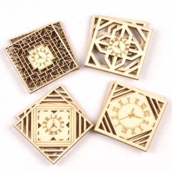 Wooden Clocks - Square (8pcs)