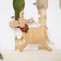 Wooden Reindeer Decoration - Light Wood Running (1pc)