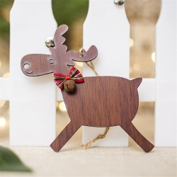 Wooden Reindeer Decoration - Dark Wood Running (1pc)