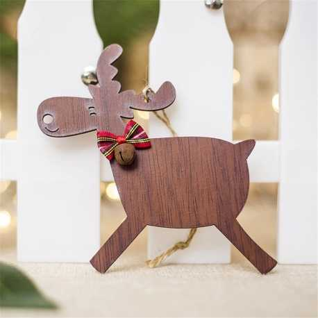 Wooden Reindeer Decoration - Dark Wood Running (1pc)