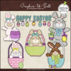 Download - Clip Art - Happy Easter Bunnies