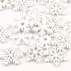 Wooden Snowflakes - White (15pcs)