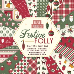 Paper Addicts Festive Folly 10cmx10cm Paper Pad (PAPAD066X19)