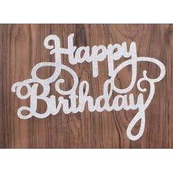 Large Die-Cut Happy Birthday - Glitter card Silver (2pcs)