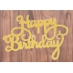 Large Die-Cut Happy Birthday - Glitter card Gold (2pcs)