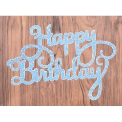 Large Die-Cut Happy Birthday - Glitter card Blue (2pcs)