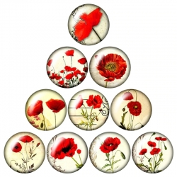 Glass Cabochons - Poppies (10pcs)