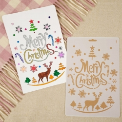 Large Plastic Stencil - Funky Merry Christmas with Reindeer