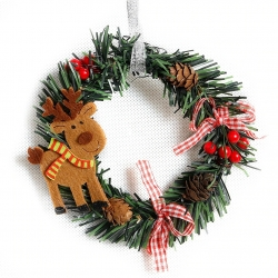 14cm Christmas Wreath - Reindeer (1pc)