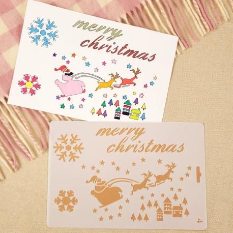 Large Plastic Stencil - Merry Christmas Santa Sleigh (1pc)