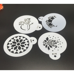 9cm Round Stencil Set - Christmas (4pcs)