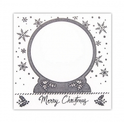 11cm Square Embossing folder - Merry Christmas Snow Globe