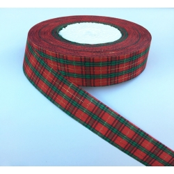2.4cm Tartan ribbon - 5 yards (4.57m)