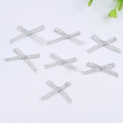 Metallic Ribbon Bows - Silver (50pcs)