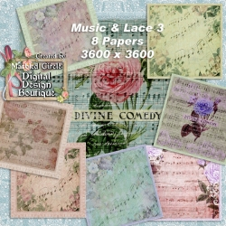 Download - Vintage Music and Lace Papers 3