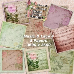 Download - Vintage Music and Lace Papers 4