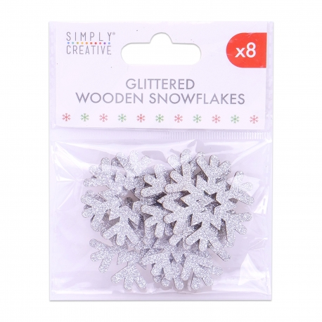 Simply Creative Basics Silver Glittered Wooden Snowflakes