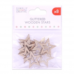 Simply Creative Basics Gold Glittered Wooden Stars (SCTOP054X19)
