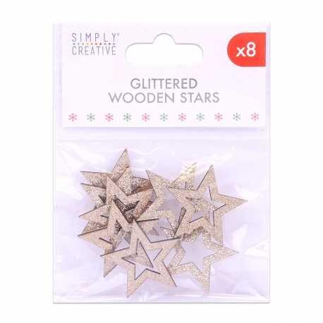 Simply Creative Basics Gold Glittered Wooden Stars (SCTOP054X19)