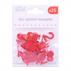 Simply Creative Basics Red Felt Advent Numbers - 25 Pieces