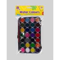 Water Colour Pallet & Brush, 28 Colours (STA0326OB)
