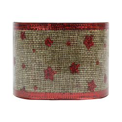 Christmas Hessian Ribbon - Red Stars (XMA1720)