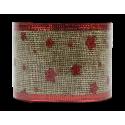 Christmas Hessian Ribbon - Red Stars (XMA1720)