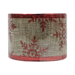 Christmas Hessian Ribbon - Red Snowflakes (XMA1720)