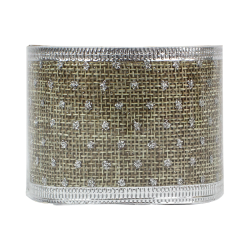 Christmas Hessian Ribbon - Silver Dots (XMA1720)