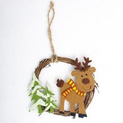 8cm Christmas Wreath - Reindeer (1pc)