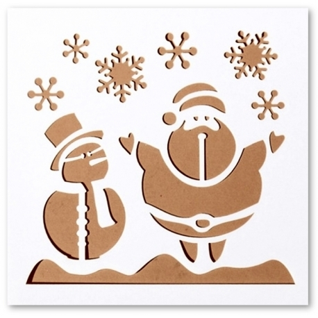 Reusable Stencil - Snowman & Santa (1pc)