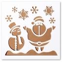 13 x 13cm Reusable Stencil - Snowman & Santa (1pc)