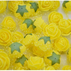 Stemless Foam Rose-heads - Yellow (50pcs)