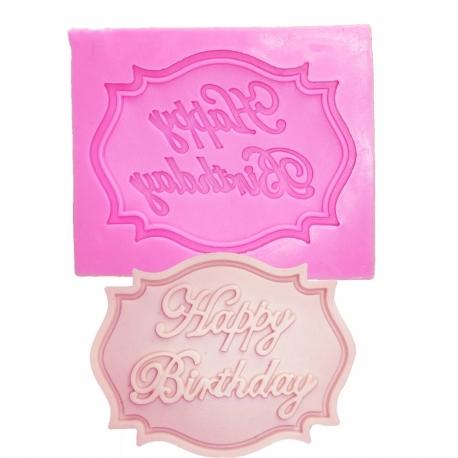 Small Silicone Mould - Happy Birthday Label