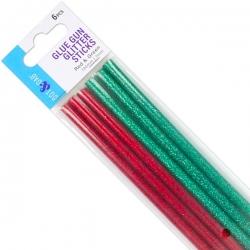 Dot & Dab Glue Gun Glitter Sticks Red & Green - Mini 6pk