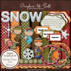Download - Winter Snow Kids 1 - Digital Scrap Kit
